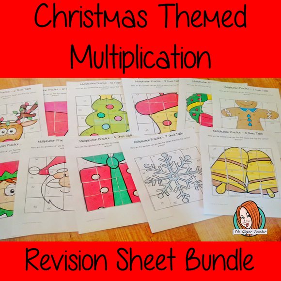 Christmas Themed Independent Multiplication Revision Bundle No Prep independent revision activities for the two up to twelve times tables. Children have to cut out and stick the correct answer to the question square, when the correct squares are all in place a Christmas themed picture will be revealed. #teachmultiplication #revisemultiplication #twelvetimestables #noprep #mathsworksheets