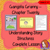 Story Structures; Complete Lesson  – Gangsta Granny This complete, English lesson on the 20th chapter of the book Gangsta Granny by David Walliams. The lesson focuses on planning a narrative and the important elements needed to create a story. There is a detailed PowerPoint to ensure children's understanding the class will plan a story together and then the children will use writing frames and cloze sheets to create their own plans. #lessonplans #bookstudy #teachingideas #readingactivities