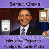 Barack Obama Interactive Quote Poster Augmented Reality (AR) interactive quote poster This poster can be printed and used in your classroom access the augmented reality aspects of this poster download the free Metaverse AR (augmented reality) app. Barack Obama will appear in your classroom to give your kids extra facts and two short videos. Included are two posters one color and one black and white with AR codes for interactive content #blackhistorymonth #blackhistory #barackobama