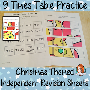 Christmas Themed Independent Multiplication Revision Sheets 9x No Prep independent revision activity for the nine times tables. Children have to cut out and stick the correct answer to the question square, when the correct squares are all in place a christmas themed picture will be revealed. #teachmultiplication #revisemultiplication #ninetimestables #noprep #mathsworksheets