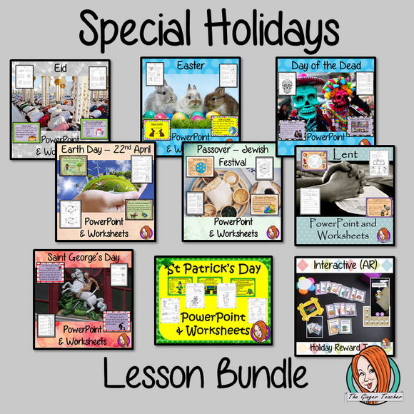 Special Holidays Lesson Bundle This is a collection of lessons to teach children about special holidays throughout the year.  Eight special holidays are included each with lesson PowerPoint and differentiated worksheets. There is also a collection of reward tags for the children to collect with a holiday theme. Lesson in this bundle: *Eid *Easter *Day of the Dead *St George's Day *Earth Day *Passover *Lent *St Patrick's Day And: *Special Holiday Reward Tags #teaching #holidays #reteaching