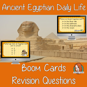 Egyptian Daily Life Revision Questions  This deck revises children's knowledge of Egyptian Daily Life. There are multiple choice revision questions to check children's understanding. These question cards are self-grading and lots of fun!