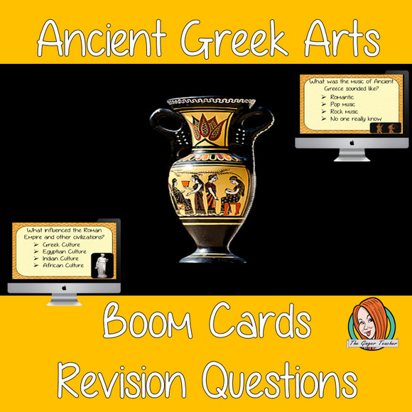 Ancient Greek Art Revision Questions  This deck revises children's knowledge of Ancient Greek Art. There are multiple choice revision questions to check children's understanding. These question cards are self-grading and lots of fun!