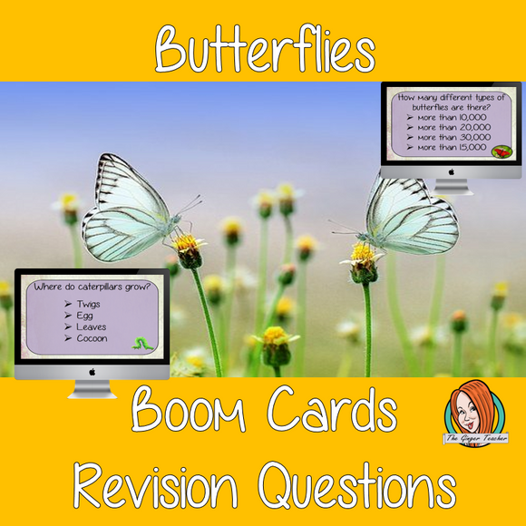 Butterflies Revision Questions  This deck revises children's knowledge of Butterflies. There are multiple choice revision questions to check children's understanding. These question cards are self-grading and lots of fun!