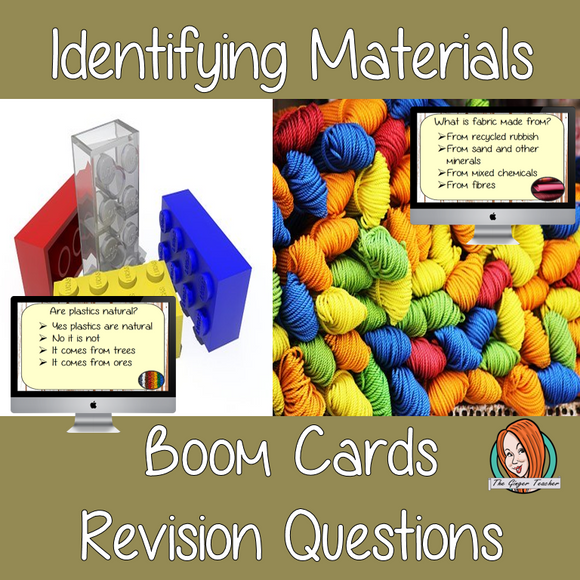 Identifying Materials Revision Questions  This deck revises children's knowledge of Identifying Materials. There are multiple choice revision questions to check children's understanding. These question cards are self-grading and lots of fun!