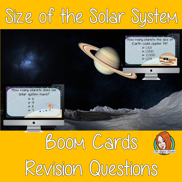 Size of the Solar System Revision Questions  This deck revises children's knowledge of Size of the Solar System. There are multiple choice revision questions to check children's understanding. These question cards are self-grading and lots of fun!