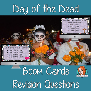 Day of the Dead Revision Questions  This deck revises children's knowledge of Day of the Dead. There are multiple choice revision questions to check children's understanding. These question cards are self-grading and lots of fun!