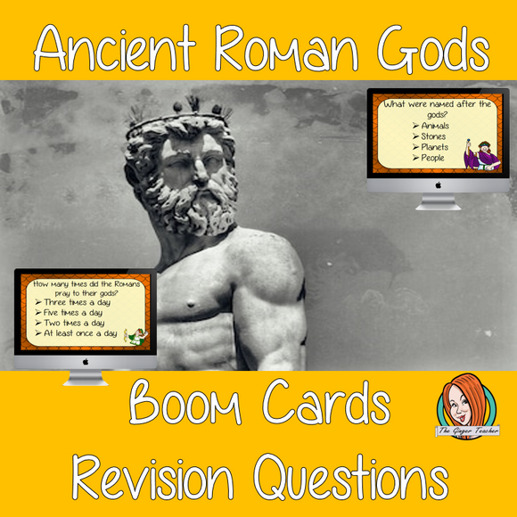 Ancient Roman Gods Revision Questions  This deck revises children's knowledge of Ancient Roman Gods. There are multiple choice revision questions to check children's understanding. These question cards are self-grading and lots of fun!