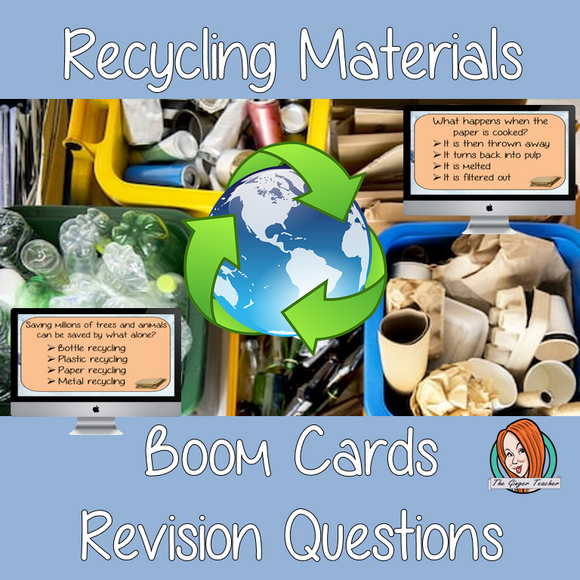 Recycling Materials Revision Questions  This deck revises children's knowledge of Recycling Materials. There are multiple choice revision questions to check children's understanding. These question cards are self-grading and lots of fun!