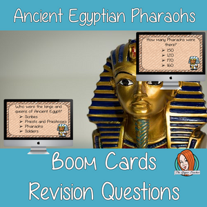Ancient Egyptian Pharaohs Revision Questions  This deck revises children's knowledge of Ancient Egyptian Pharaohs. There are multiple choice revision questions to check children's understanding. These question cards are self-grading and lots of fun!