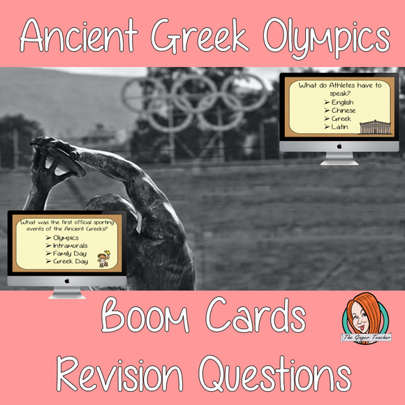 Ancient Greek Olympics Revision Questions  This deck revises children's knowledge of Ancient Greek Olympics. There are multiple choice revision questions to check children's understanding. These question cards are self-grading and lots of fun!