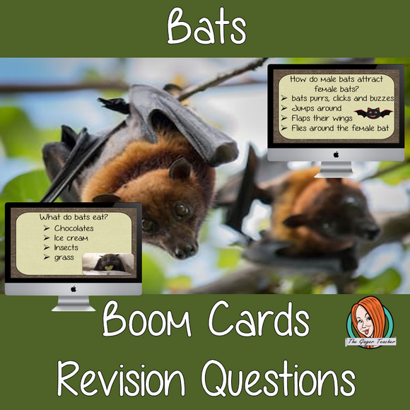 Bats Revision Questions  This deck revises children's knowledge of Bats. There are multiple choice revision questions to check children's understanding. These question cards are self-grading and lots of fun!