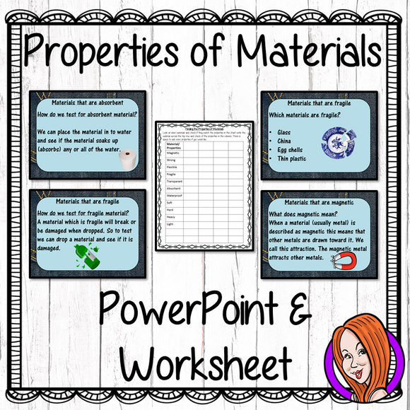 Properties of Materials   -  PowerPoint and Worksheet