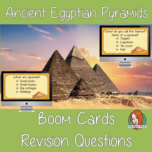 Ancient Egyptian Pyramids Revision Questions  This deck revises children's knowledge of Ancient Egyptian Pyramids. There are multiple choice revision questions to check children's understanding. These question cards are self-grading and lots of fun!