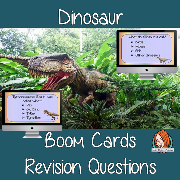 Dinosaur Revision Questions  This deck revises children's knowledge of Dinosaur. There are multiple choice revision questions to check children's understanding. These question cards are self-grading and lots of fun!
