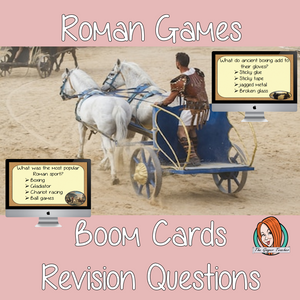 Ancient Roman Games Revision Questions  This deck revises children's knowledge of Ancient Roman Games. There are multiple choice revision questions to check children's understanding. These question cards are self-grading and lots of fun!