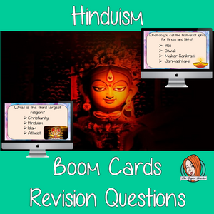 Hinduism Revision Questions  This deck revises children's knowledge of Hinduism. There are multiple choice revision questions to check children's understanding. These question cards are self-grading and lots of fun!