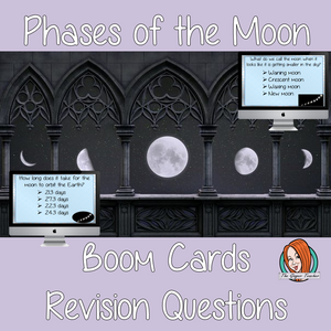 Phases of the Moon Revision Questions  This deck revises children's knowledge of Phases of the Moon. There are multiple choice revision questions to check children's understanding. These question cards are self-grading and lots of fun!