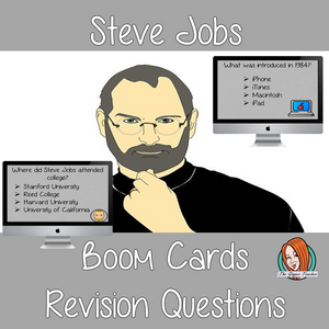 Steve Jobs Revision Questions  This deck revises children's knowledge of Steve Jobs. There are multiple choice revision questions to check children's understanding. These question cards are self-grading and lots of fun!