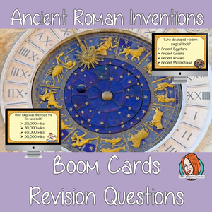 Ancient Roman Inventions Revision Questions  This deck revises children's knowledge of Ancient Roman Inventions. There are multiple choice revision questions to check children's understanding. These question cards are self-grading and lots of fun!