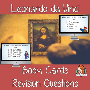 Leonardo da Vinci Revision Questions  This deck revises children's knowledge of Leonardo da Vinci. There are multiple choice revision questions to check children's understanding. These question cards are self-grading and lots of fun!
