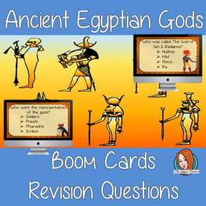 Egyptian Gods Revision Questions  This deck revises children's knowledge of Egyptian Gods. There are multiple choice revision questions to check children's understanding. These question cards are self-grading and lots of fun!