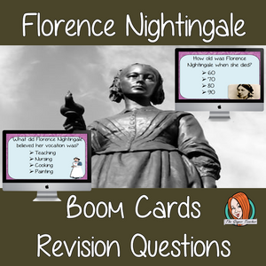 Florence Nightingale Revision Questions  This deck revises children's knowledge of Florence Nightingale. There are multiple choice revision questions to check children's understanding. These question cards are self-grading and lots of fun!