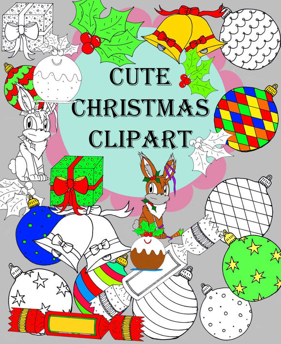 Cute Coloured and BW Christmas Clipart