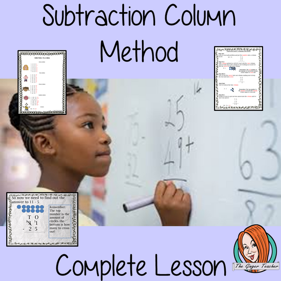 Subtraction Column Method, Complete Math lesson