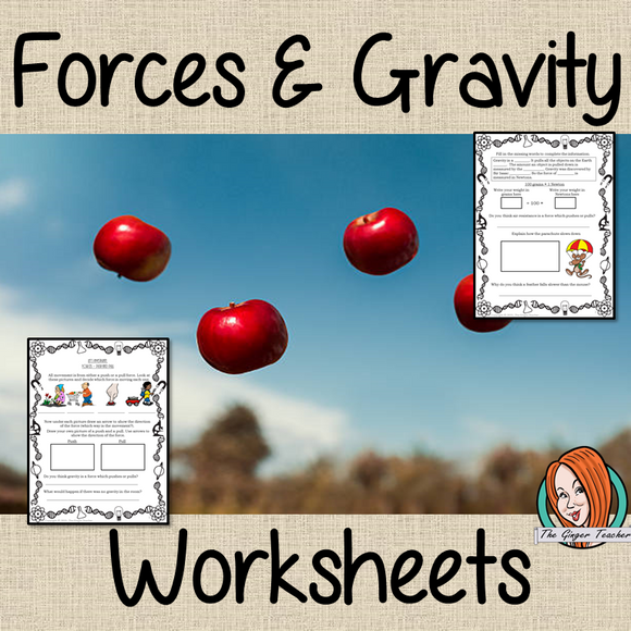 Forces, Gravity, Push and Pull, Newton Worksheets