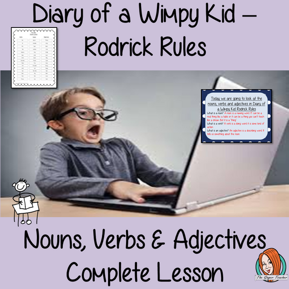 Nouns, Verbs and Adjectives Complete Lesson  – Diary of a Wimpy Kid Rodrick Rules