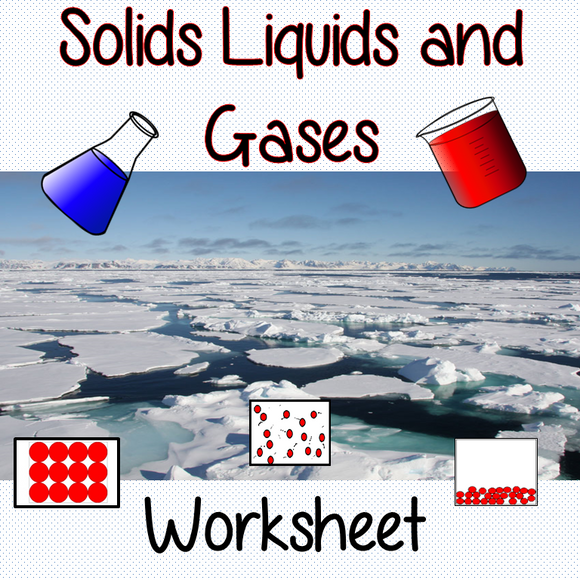 Changes in Materials and Particles, Solids, Liquids and Gases Worksheets