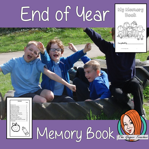 End of School Year Memory Keepsake Book