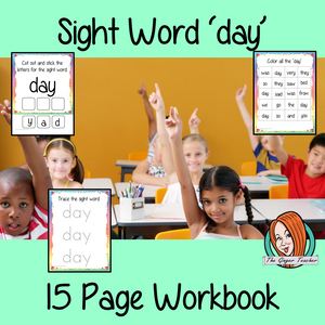 Sight word 'day' 15 page workbook. Contains pages to learn the fry sight word 'day', for learning the high frequency words. Contains handwriting practice, word practice, spelling and use in sentences. #sightwords # frywords #highfrequencywords