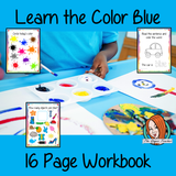 Color 'Blue' 16 Page Workbook Help your children practice recognizing and writing the color blue, with 15 pages of activities to select and color. The 15 pages contain, object coloring, tracing, spelling the color word and picking out the blue objects. #learncolors #teachcolors