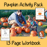 Pumpkin Activity Pack This fun 13 page workbook celebrates pumpkins! There are pages for the children to record information about their pumpkins, including how they smell, feel and taste. Then there is a short, easy to read, pumpkin story for the children to practice ordering and illustrating. #fall #autumn #pumpkins #October
