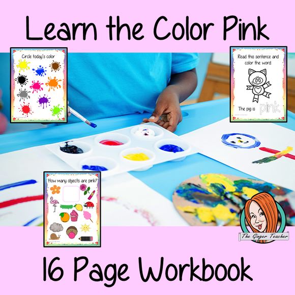 Color 'Pink' 16 Page Workbook Help your children practice recognizing and writing the color pink, with 15 pages of activities to select and color. The 15 pages contain, object coloring, tracing, spelling the color word and picking out the pink objects. #learncolors #teachcolors