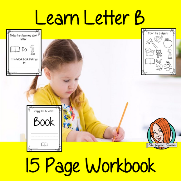 Alphabet Book Letter B    Help your children practice recognizing and using B, with 15 pages of activities.     The 15 pages contain, copying, tracing, writing, coloring, reading and spotting the letter and sound B