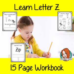 Alphabet Book Letter Z    Help your children practice recognizing and using Z, with 15 pages of activities.     The 15 pages contain, copying, tracing, writing, coloring, reading and spotting the letter and sound Z