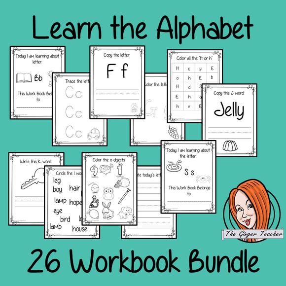 Alphabet Workbook Bundle 26 letter workbooks to help your children practice recognizing and writing the letters of the alphabet, with 15 pages of activities in each book. The 15 pages contain, object coloring, tracing the letter, spelling the word with initial sounds and picking out the initial sound objects.