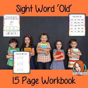 Sight Word 'Old' 15 Page Workbook Help your children practice their sight words with 15 pages of activities to spell and use the sight word 'Old' in sentences.     The 15 pages contain, handwriting practice, tracing and spelling the word and sentence reading and construction.