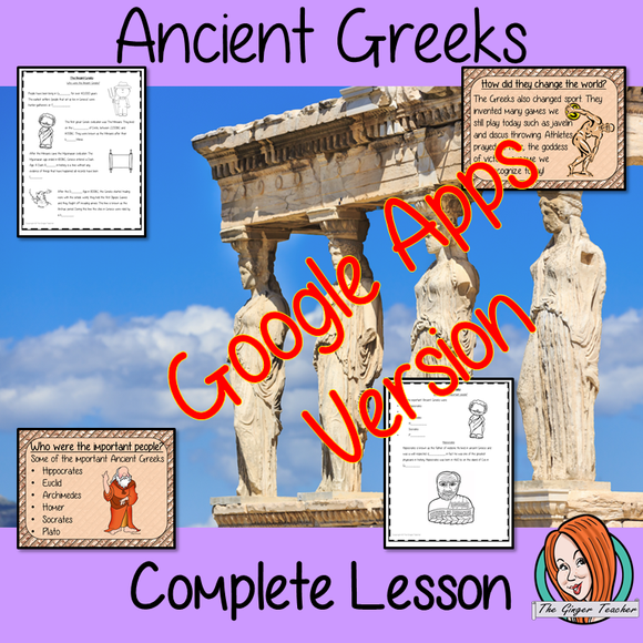 Distance Learning Ancient Greeks Complete Google Slides Lesson Teach children about the Ancient Greeks. Children will learn who the Ancient Greeks were, who the important people were and how they changed the world. There is a detailed 31 slide presentation and 4 versions of the 10-page Google slides worksheet to allow children to show their understanding.This is the Google Slides version of this lesson! #ancientGreeks #historylessons #historyplanning #googleclassroom