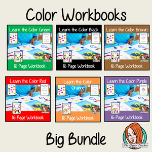 Color Workbook Bundle 10 different color workbooks to help your children practice recognizing and writing the colors, with 15 pages of activities in each book, to select and color. The 15 pages contain, object coloring, tracing, spelling the color word and picking out the colored objects.