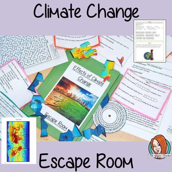 Climate Change Escape Room Game This is a fun game that is perfect for teaching children about climate change. This game focuses on students finding out facts and information and using these to solve puzzles. This helps them to learn about the causes and effects of climate change and about the rainforest being destroyed understand climate change, they must solve a series of clues #rainforest #climatechange #escaperoom
