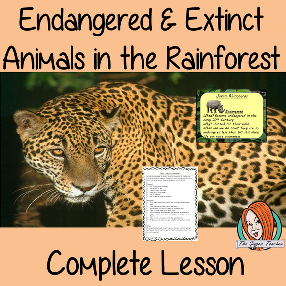 Endangered and Extinct Animals of the Rainforest Complete Geography Lesson