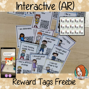 Interactive Classroom freebie Reward Tags (brag tags) Give you class something to brag about! These reward tags can be printed and used in your classroom download the free Metaverse AR (augmented reality) app Scan the code and a fun character will appear in your classroom to congratulate the kids! each tag has AR reward that the children collect also the option to take a reward selfie. #ar #augmentedreality #bragtags #rewardtag #awardtags #highschool #growthmindset