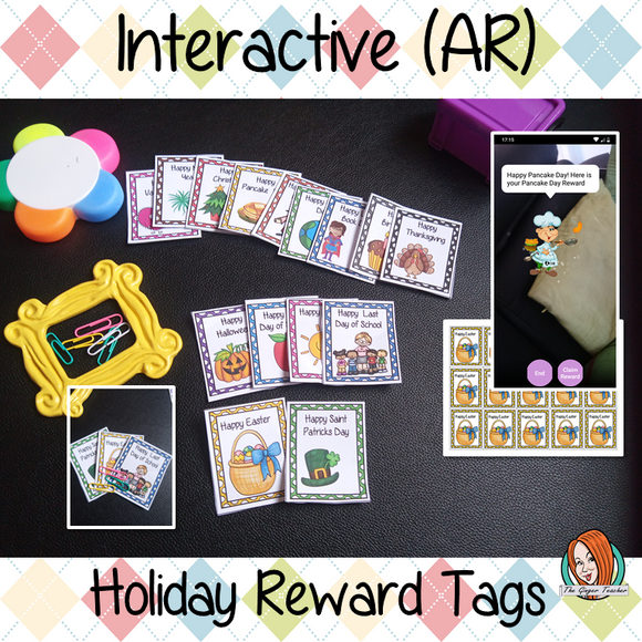 Interactive Classroom Holiday Reward Tags (brag tags) Give you class something to brag about! These reward tags can be printed and used in your classroom download the free Metaverse AR (augmented reality) app Scan the code and a fun character will appear in your classroom to congratulate the kids! each tag has AR reward that the children collect also the option to take a reward selfie. #ar #augmentedreality #bragtags #rewardtag #awardtags