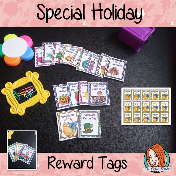 Special Holidays Reward Tags (Brag Tags) These reward tags can be printed and used in your classroom for special holidays includes 15 reward tags: Happy New Year Happy Valentine's day Happy St Patrick's Day Happy Easter Happy Summer Happy First Day of School Happy Last Day of School Happy Halloween Happy Thanksgiving Happy Christmas Happy Birthday Happy World Book Day Happy Pancake Day Happy Earth Day Happy Chinese New Year #bragtags #rewardtag #awardtags #holidays