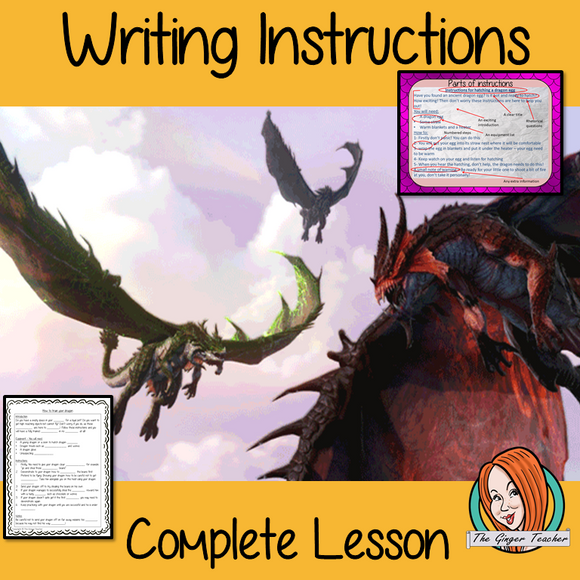 Complete Lesson on Writing Instructions Related to Dragons. Children watch and discuss the pet dragon video. PowerPoint for children's understanding of instruction writing. The class write instructions together and the children plan and write their own using the writing frame and success criteria included For lower ability children a scaffold instruction cloze sheet. #lessonplans #dragon #teachingideas #instructions