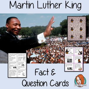 Martin Luther King Fact and Question Cards 42 short fact and 42 short question cards about Martin Luther King Jr. are perfect for Black History Month in your classroom. used for quick revision or as part of a game. I like to replace the normal question cards with these to increase the fun! There are colored and black and white versions included. #teaching #resources #historylessons #martinlutherking #mlk #blackhistorymonth